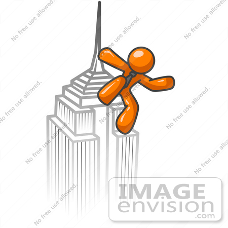 #35492 Clip Art Graphic of an Orange Guy Character Standing Atop A Tall Skyscraper In A City by Jester Arts
