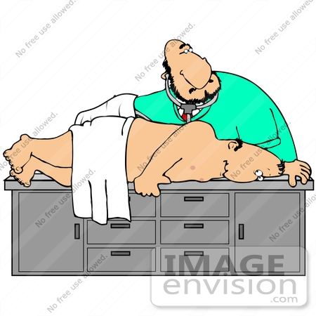 #35607 Clip Art Graphic of a Man Lying on His Side During a Colonoscopy by DJArt