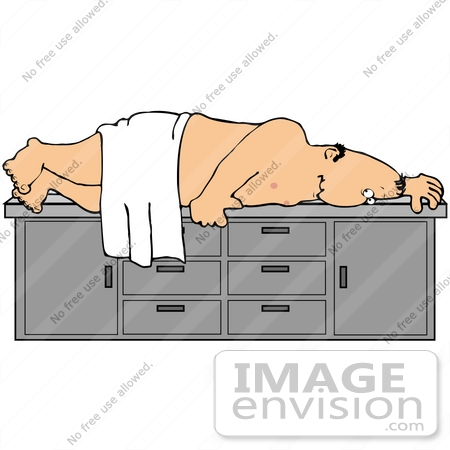 #35608 Clip Art Graphic of a Nude Man Lying Nervously on a Table, Waiting for a Colonoscopy by DJArt