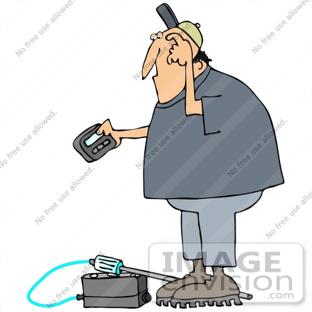 #35609 Clip Art Graphic of a Man Scratching His Head and Reading a Gas Meter Pager by DJArt