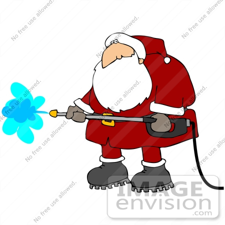 #35612 Clip Art Graphic of Santa In His Red Suit, Working With A Power Washer by DJArt