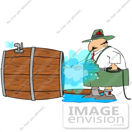 #35616 Clip Art Graphic of an Oktoberfest Man Spraying Out a Wooden Beer Barrel With a Pressure Washer by DJArt
