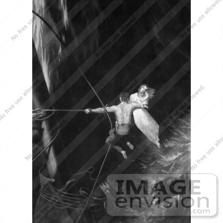 #35640 Stock Illustration Of A Man Flying Over Stormy Waters On A Rope, Holding A Woman And Her Baby In His Arms While Saving Her From Drowning by JVPD