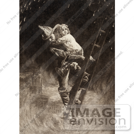 Stock Illustration Of A Fireman Rescuing A Little Girl ...