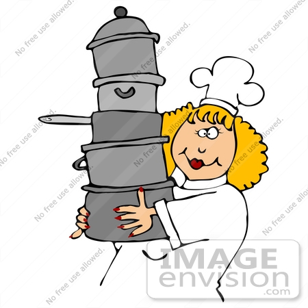 Clip Art Chef with Pots and Pans