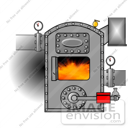 #35652 Clip Art Graphic of Gauges On Pipes Connecting To A Hot Boiler With The Door Open, Showing Flames by DJArt