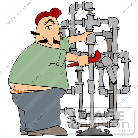 #35654 Clip Art Graphic of a Caucasian Man With A Surprised Expression, Adjusting Pipes And Caught With His Butt Crack Showing by DJArt