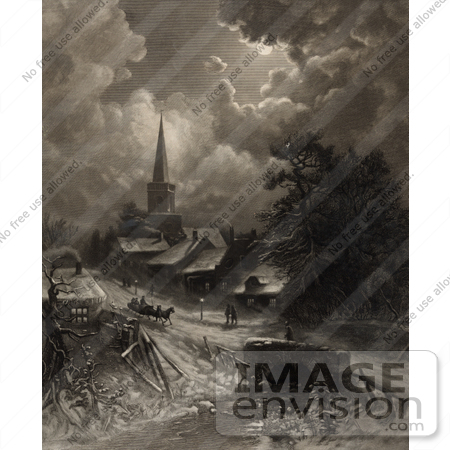 #35656 Stock Illustration of a Snow Covered Street With Pedestrians And A Horse Drawn Sleigh Near A Church, In The Moonlight by JVPD