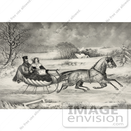 #35663 Stock Illustration of a Man And Lady Riding In A Horse Drawn Sleigh On A Wintry Road by JVPD