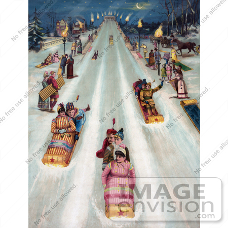 #35666 Stock Illustration of a Vintage Advertisement For Star Toboggans, Showing People Having Fun And Sledding Downhill At Night by JVPD
