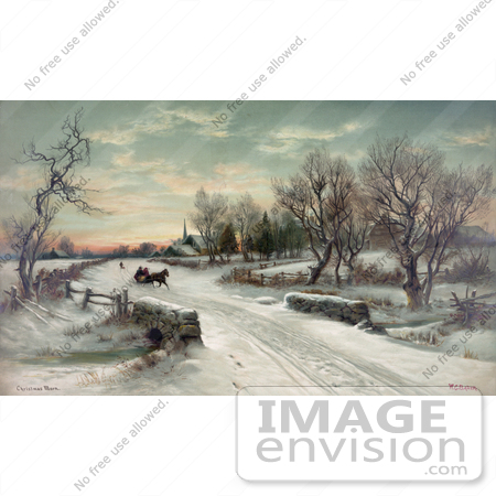 #35667 Stock Illustration of a Couple Riding In A Horse Drawn Sleigh on Christmas Morning by JVPD