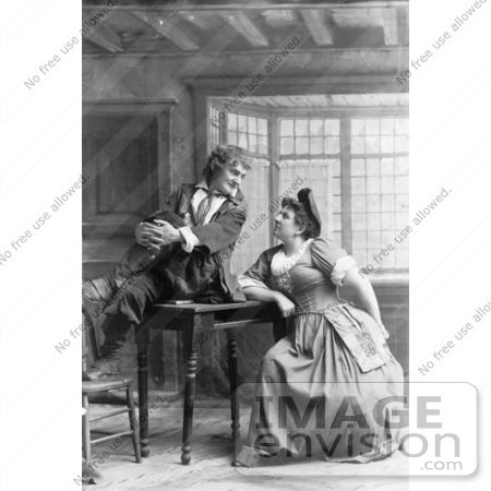 #35671 Stock Photo Of A Man, Actor Joseph Jefferson, Sitting On Top Of A Table And Gazing Into A Woman's Eyes During A Performance by JVPD