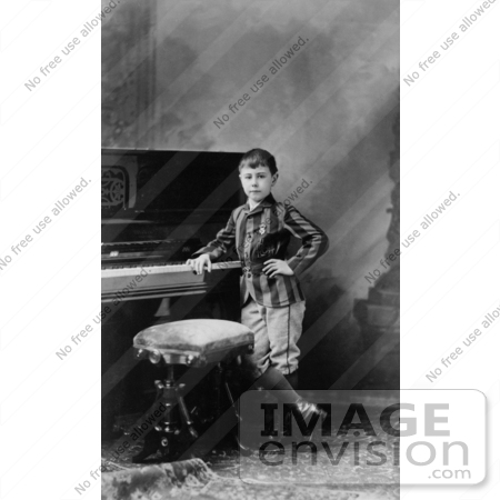 #35677 Stock Photo Of The Child Prodigy Pianist And Composer, Josef Kazimierz Hofmann, Posting By His Piano by JVPD