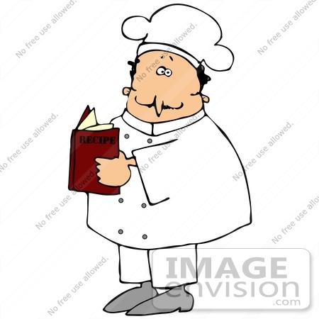 Clip Art Graphic of a Male Caucasian Chef in a White Uniform ...