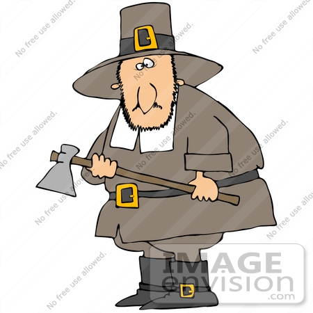 #35693 Clip Art Graphic of a Male Caucasian Pilgrim Preparing To Kill A Turkey With An Ax by DJArt