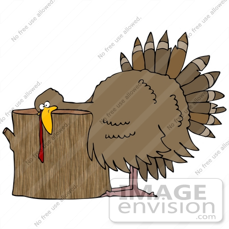 #35703 Clip Art Graphic of a Helpless Turkey Bird With His Head On A Wood Stump by DJArt