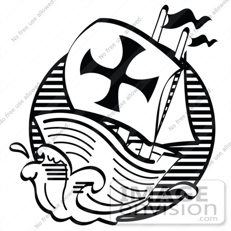 #35709 Clip Art Graphic of The Mayflower Pilgrim Ship Sailing Rough Seas, Black And White by Andy Nortnik