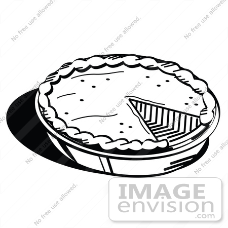 #35714 Clip Art Graphic of a Black And White Pumpkin Or Apple Pie Missing A