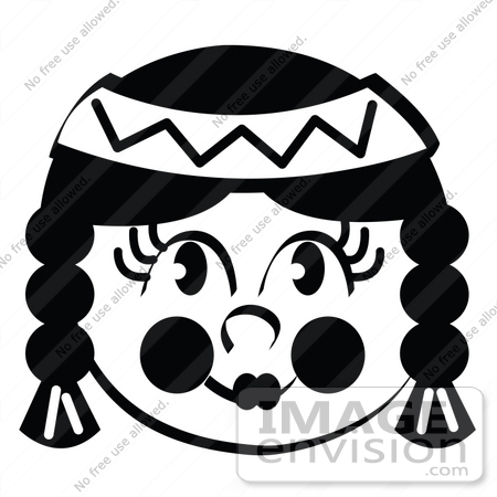#35722 Clip Art Graphic of a Native American Indian Girl With With Braids, In Black And White by Andy Nortnik