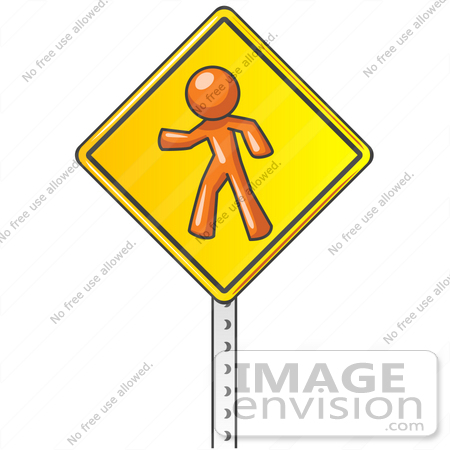 #35736 Clip Art Graphic of an Orange Guy Character On A Yellow Pedestrian Crossing Sign by Jester Arts