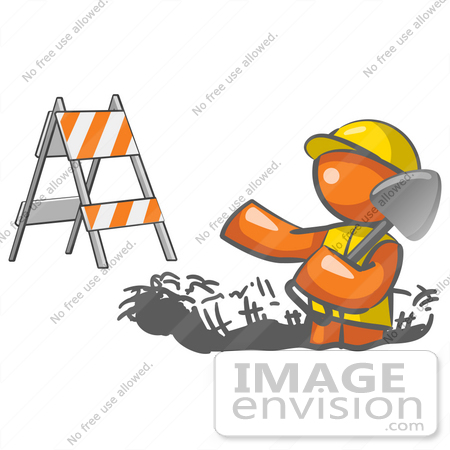 #35738 Clip Art Graphic of an Orange Guy Character In A Hardhat, Digging In The Road At A Construction Site by Jester Arts