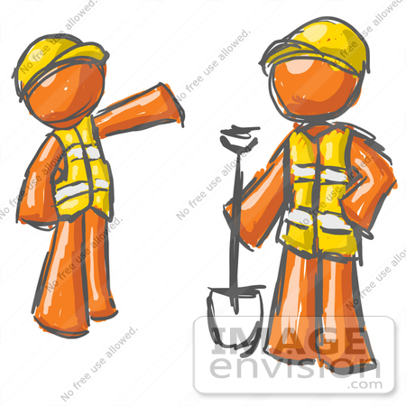 #35740 Clip Art Graphic of an Painted Orange Guy Character Instructing An Employee How To Do Road Work by Jester Arts