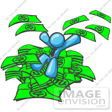 #35772 Clip Art Graphic of a Sky Blue Guy Character Jumping in a Pile of Cash by Jester Arts