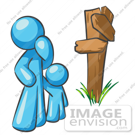 #35774 Clip Art Graphic of a Sky Blue Guy Character and Child at a Crossroads by Jester Arts