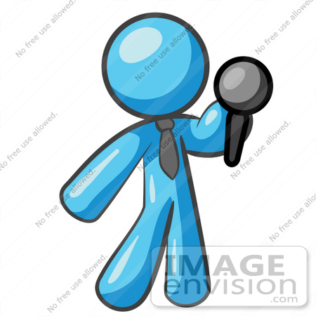 #35794 Clip Art Graphic of a Sky Blue Guy Character Holding a Microphone by Jester Arts