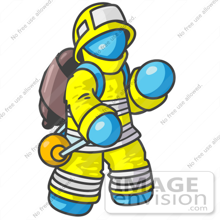 #35806 Clip Art Graphic of a Sky Blue Guy Character Fireman by Jester Arts