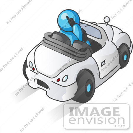#35808 Clip Art Graphic of a Sky Blue Guy Character Driving and Talking on a Cell Phone by Jester Arts