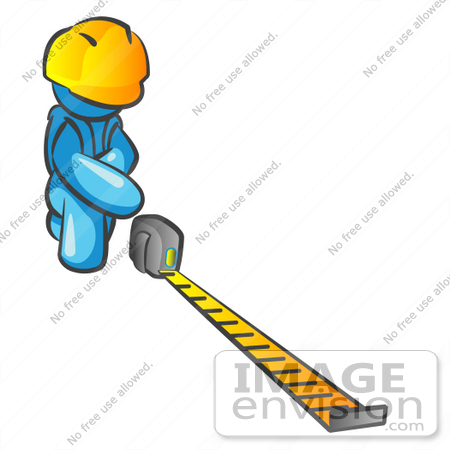 #35812 Clip Art Graphic of a Sky Blue Guy Character Measuring by Jester Arts