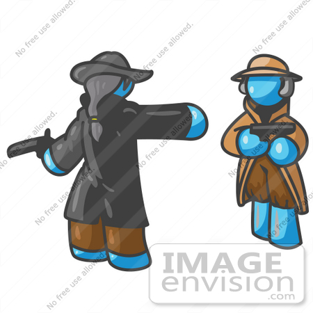 #35827 Clip Art Graphic of a Sky Blue Guy Character in a Duel by Jester Arts