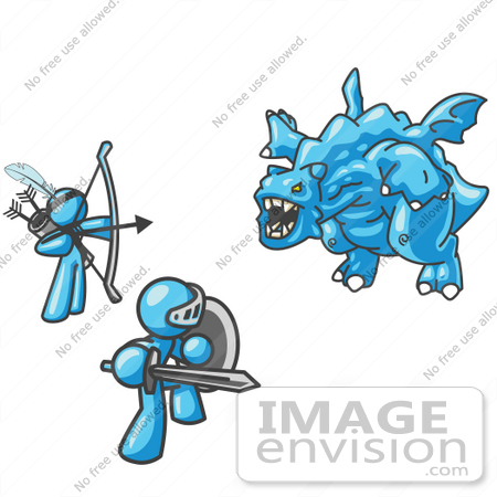 #35830 Clip Art Graphic of Sky Blue Guy Characters Killing a Dragon by Jester Arts