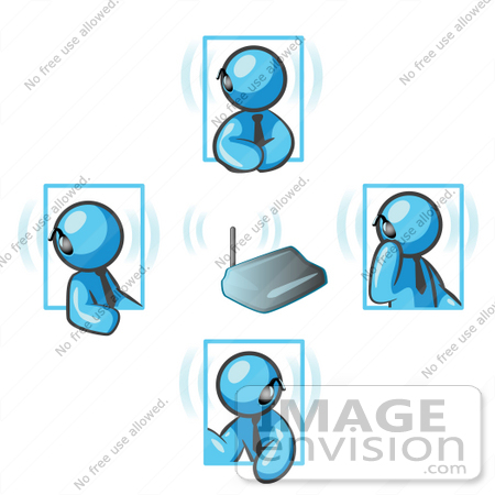 #35831 Clip Art Graphic of a Sky Blue Guy Character Having Conversations on a Bluetooth Headset by Jester Arts
