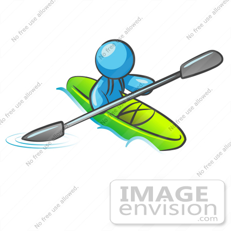 #35836 Clip Art Graphic of a Sky Blue Guy Character Kayaking by Jester Arts