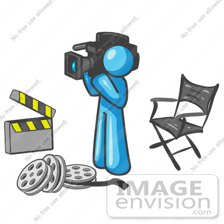 #35843 Clip Art Graphic of a Sky Blue Guy Character Filming a Movie by Jester Arts