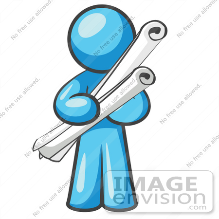 Royalty free document stock clipart cartoons page 1 35869 clip art graphic of a sky blue guy character holding scrolled blueprints malvernweather Choice Image