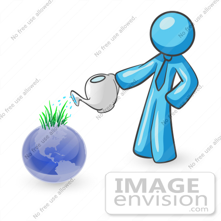 #35877 Clip Art Graphic of a Sky Blue Guy Character Watering a Globe by Jester Arts