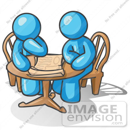 #35885 Clip Art Graphic of Sky Blue Guy Characters Reading at a Table by Jester Arts