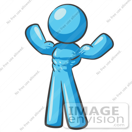 #35919 Clip Art Graphic of a Sky Blue Guy Character Flexing His Muscles by Jester Arts