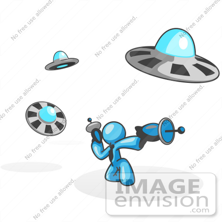 #35934 Clip Art Graphic of a Sky Blue Guy Character With UFOs by Jester Arts