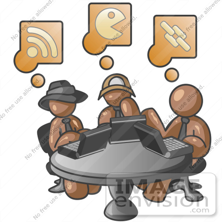 #35980 Clip Art Graphic of Brown Guy Characters Using Laptops at a Table by Jester Arts