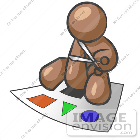 #35989 Clip Art Graphic of a Brown Guy Character Cutting Out Shapes by Jester Arts