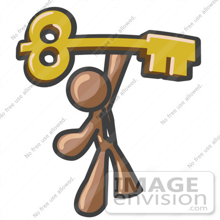 #36004 Clip Art Graphic of a Brown Guy Character Holding up a Golden Key by Jester Arts