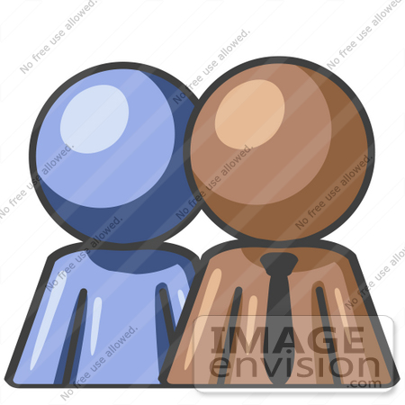 #36022 Clip Art Graphic of a Brown Guy Character With an Employee by Jester Arts