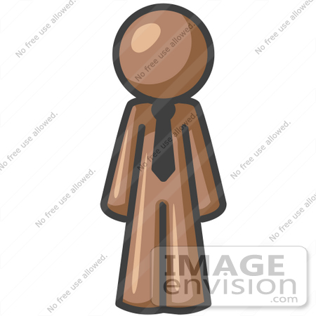 #36032 Clip Art Graphic of a Brown Guy Character Businessman by Jester Arts
