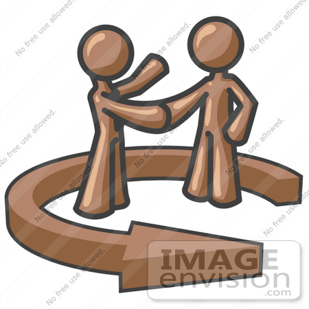 #36037 Clip Art Graphic of Brown Guy Characters Shaking Hands in an Arrow by Jester Arts