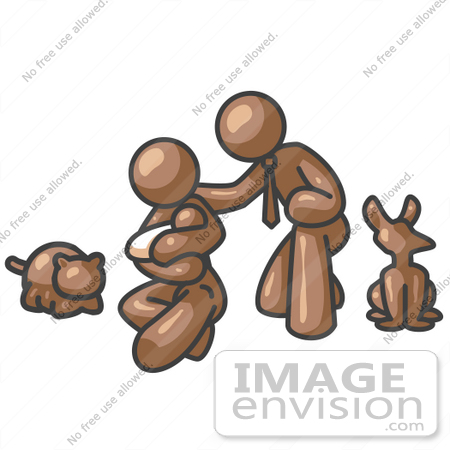 #36043 Clip Art Graphic of a Brown Guy Character Family and Pets by Jester Arts