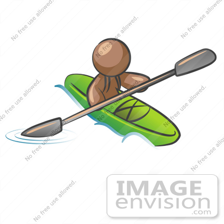 #36051 Clip Art Graphic of a Brown Guy Character Kayaking by Jester Arts
